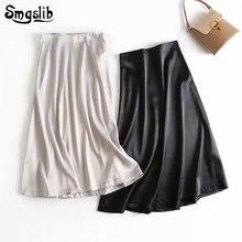 2019 Fashion Tide New Spring Autumn skirt england style Elegant urban satin silk high waist black and beige long skirts