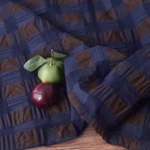 Algodón vintage azul café rejilla tela primavera tela de vestido y falda tissu doaux tela suave 0,5 metros
