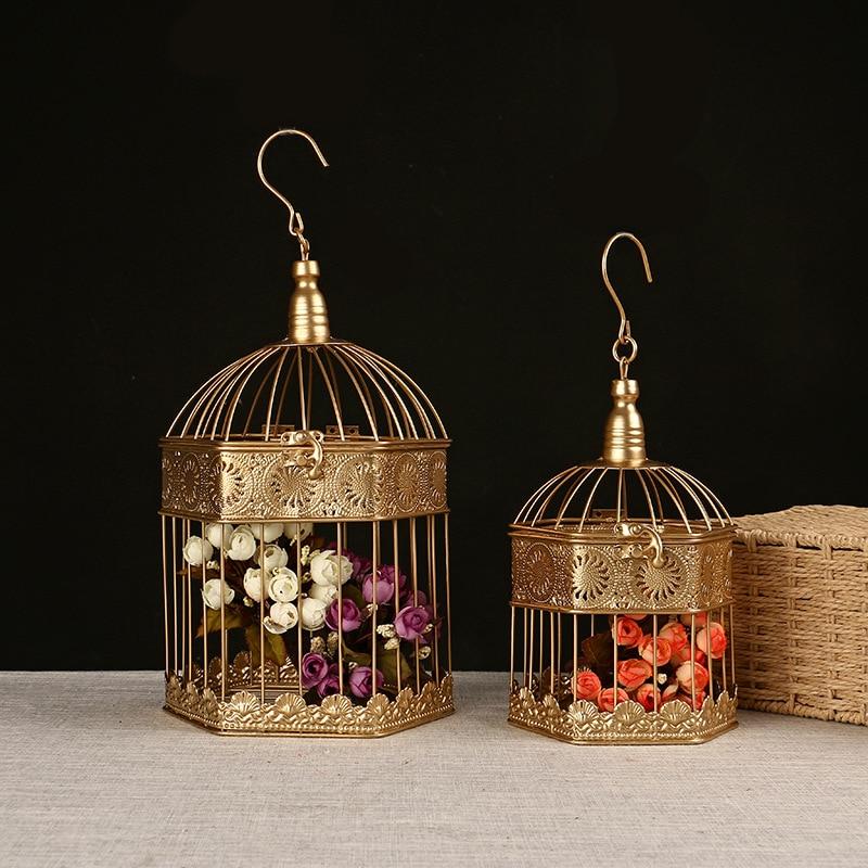 2 шт. Металл Кованое железо клетка для птиц кулон украшение Свадебная птичья клетка подвесная клетка для птиц украшение для дома|Птичьи клетки и гнезда| | - AliExpress