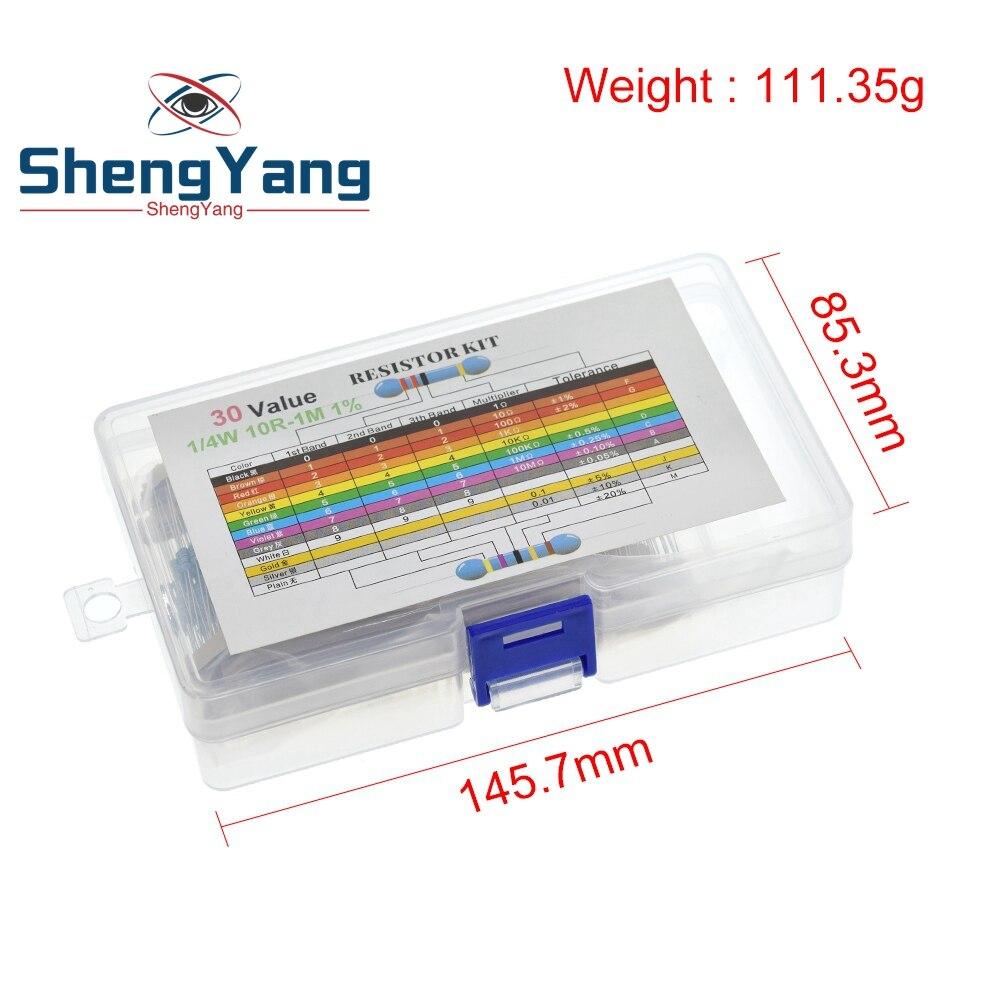 600 uds/lote 1/4W resistencia de película metálica Kit de resistencia 1% Kit surtido conjunto de 10  1M Ohm hm paquete resistencia 30 valores cada 20 Uds Resistores    -