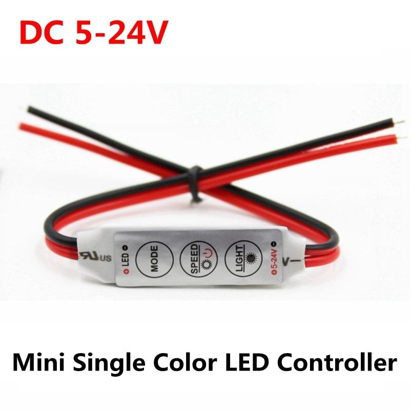 DC 5V 12V 24V 3*4A Mini Led Controller Dimmer Driver To Control Single Color Led Strip Light SMD 2835 3528 5050 5630 3014