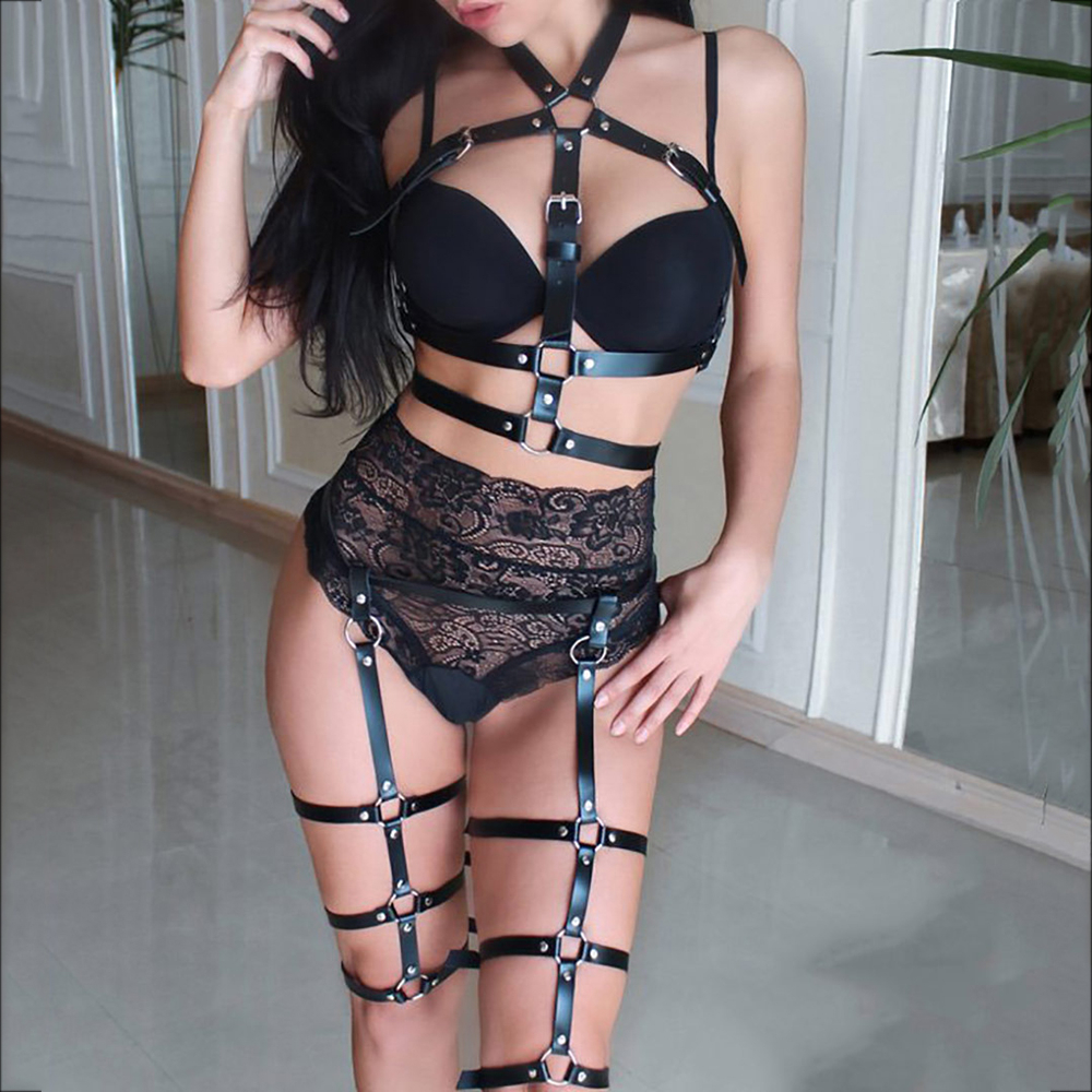 WKY Sexy 2PCS Erotic Sets Women Adjustable Leather Belt Garters Bra Harness Straps Fashion Bra Leg Garter Bdsm Bondage Sex Toys