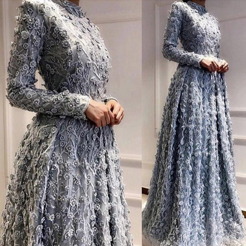 Robe de soirée bleu poussiéreux arabe 2019 cristal musulman perle fleur dentelle formelle robe de bal manches longues A Linevestidos de fiesta