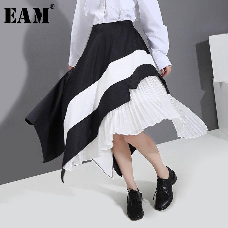 [EAM] High Elastic Waist Black Asymmetrical Pleated Temperament Half-body Skirt Women Fashion Tide New Spring Summer 2020 1S881