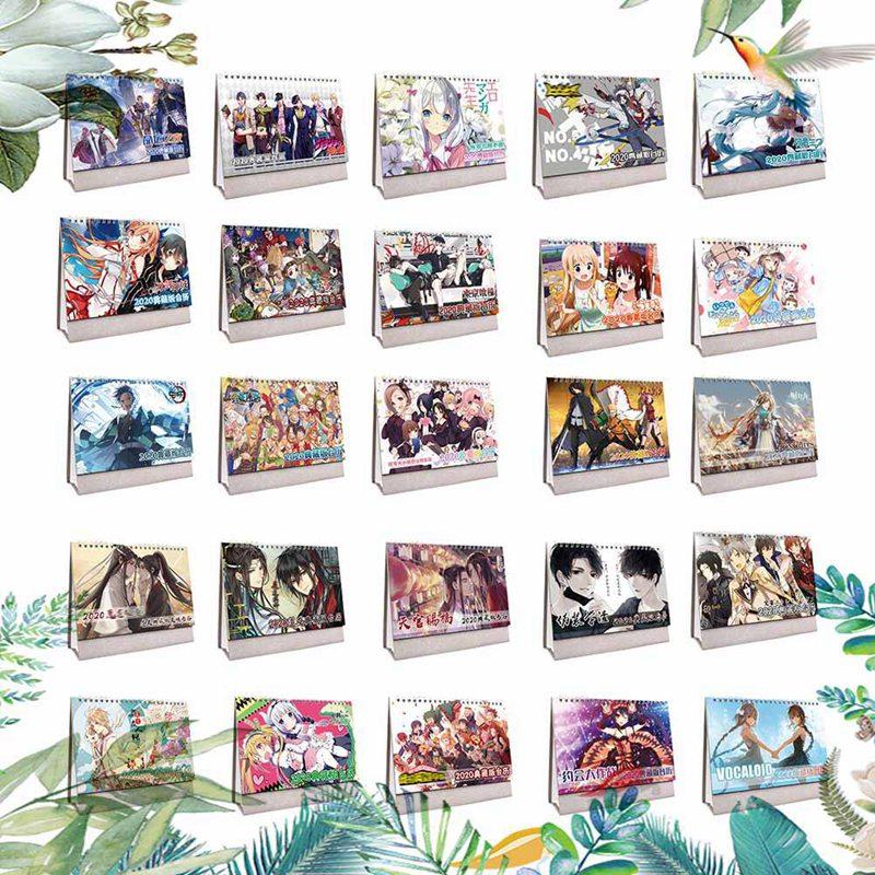 2020 New Creative Anime Bungou Stray Dogs Desk Calendar DIY Cartoon Figure Calendars Daily Schedule Planner 2020.01~2020.12