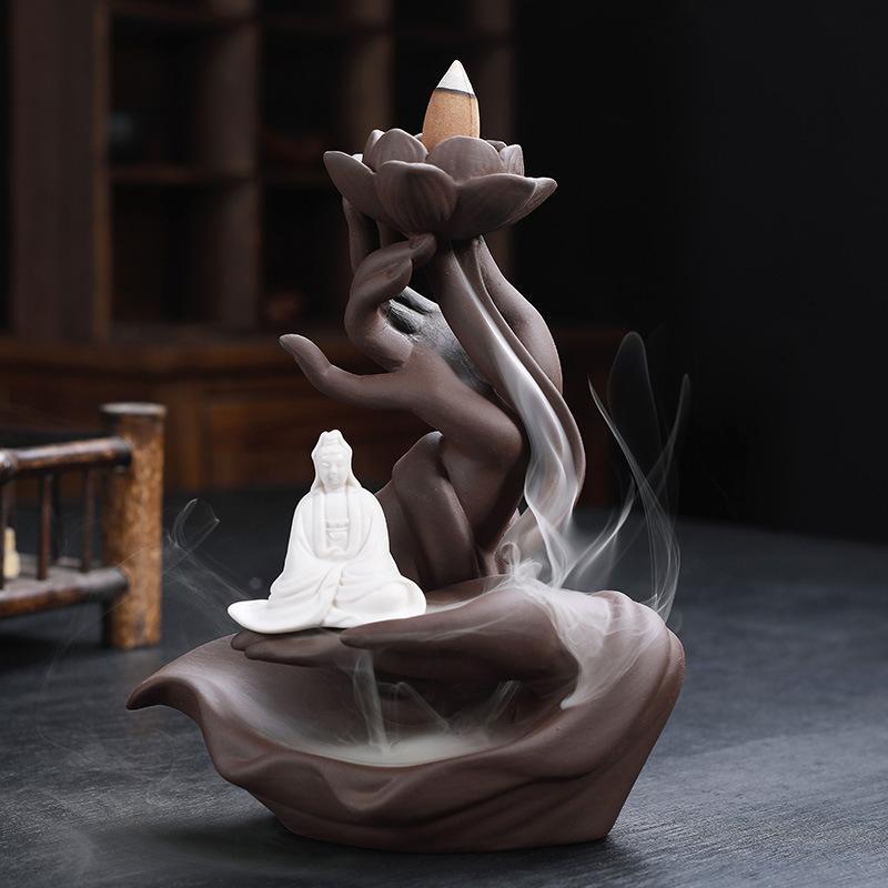 Buddha hand countercurrent incense burner with Usb Led light Home Decor 2