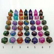 Rollooo dado poliédrico com dois tons, dado rpg d4 d6 d8 d10 d00 d12 d20 conjunto de 7
