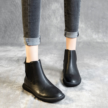 SWONCO Slip On Chelsea Boots Genuine Leather Shoes Woman 2019 Autumn Winter Female Causal Shoes Black Flat Snow Boots For Woman