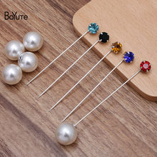 BoYuTe (8 Pieces/Lot) Mix Colorful 8MM Rhinestone Lapel Pin Fashion Brooch Pins Jewelry Accessories Wholesale(China)