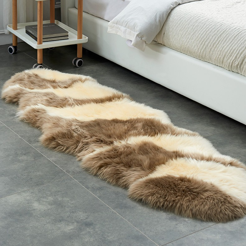 Tapis poilus de luxe naturel fourrure australienne en peau de mouton moelleux Pure laine tapis chambre tapis lavable Textile tapis décor à la maison