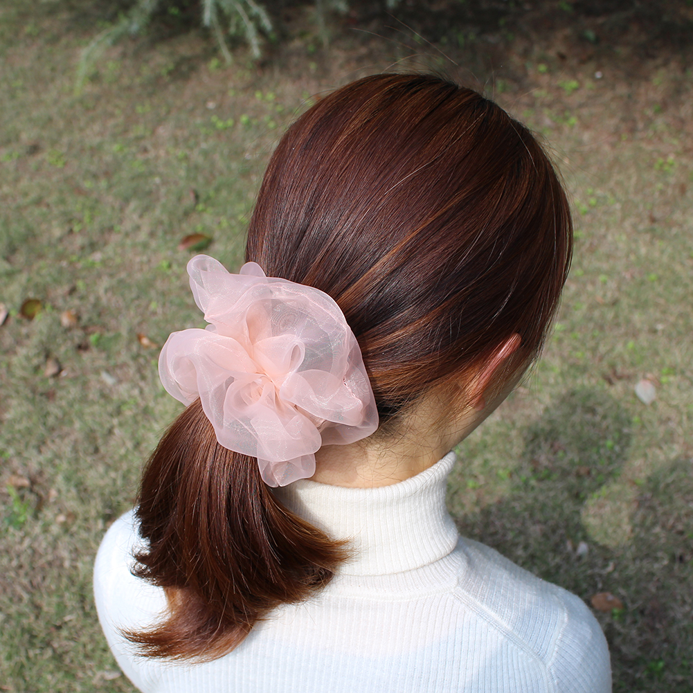 Super Over Sized Normal Size Soft Gauze Hair Scrunchies Graceful Solid Organza Ponytail Elastic Hair Ties Ring Bands Spring New