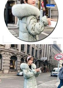 Image 3 - Женский пуховик с капюшоном, длинная теплая куртка на белом утином пуху, Воротник из 2019 натурального меха лисы, верхняя одежда, зима 90%