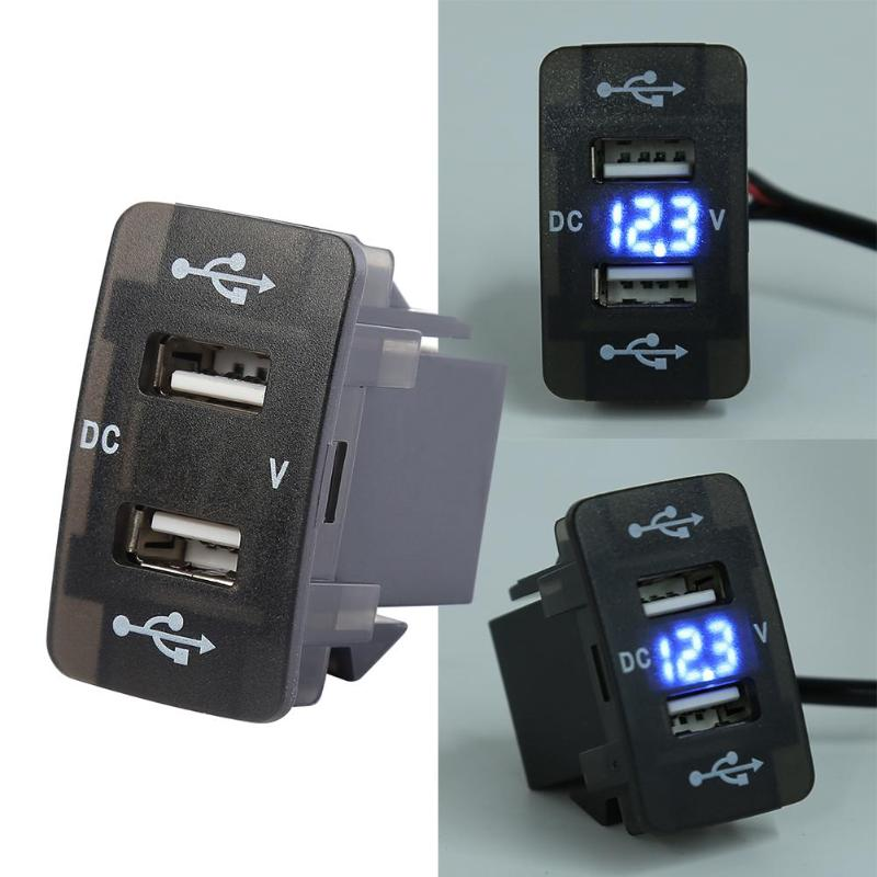 Podwójna ładowarka samochodowa USB z niebieskim woltomierzem led 4.2A gniazdo USB do ładowarki Honda mała i wykwintna wygodna instalacja