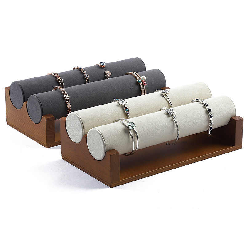 ใหม่คุณภาพสูง Vintage ไม้กำมะหยี่สร้อยข้อมือนาฬิกา Rack เครื่องประดับ Hard Stand Holder