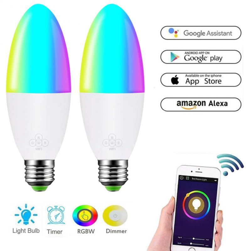 Wifi Smart Home LED Light Bulb 6W Dimmable Light E27/E14/E10/B22 Compatible With Alexa Google Home Control By Smart Life APP Hot
