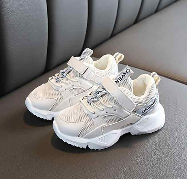 KIDS 2019 Spring Children Black Casual Shoes Baby Girls Fashion Sport Sneaker Toddler Boy White Mesh Trainer Running Shoes