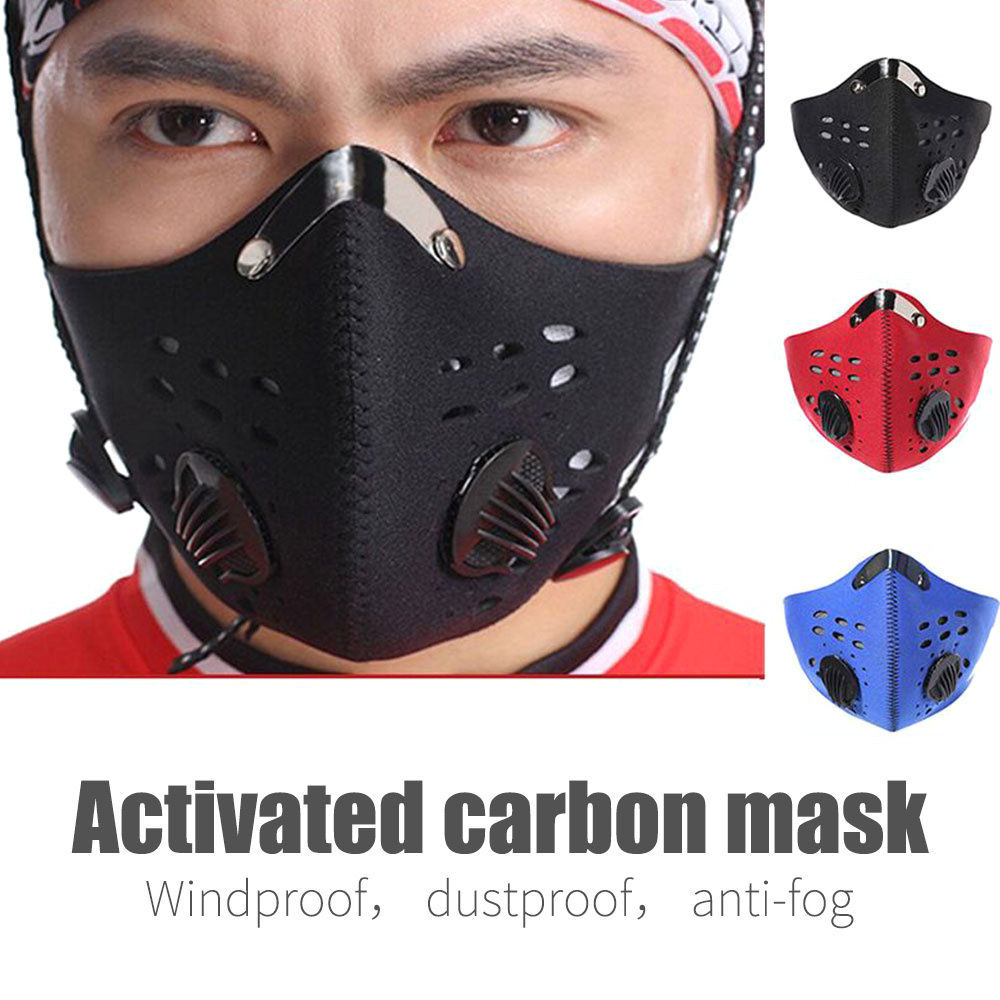 Anti Pollution Mask Military Grade Outdoor Riding Mask PM 2.5  Air Dust Mask Adjustable Washable 10pcs Activated Carbon Filters
