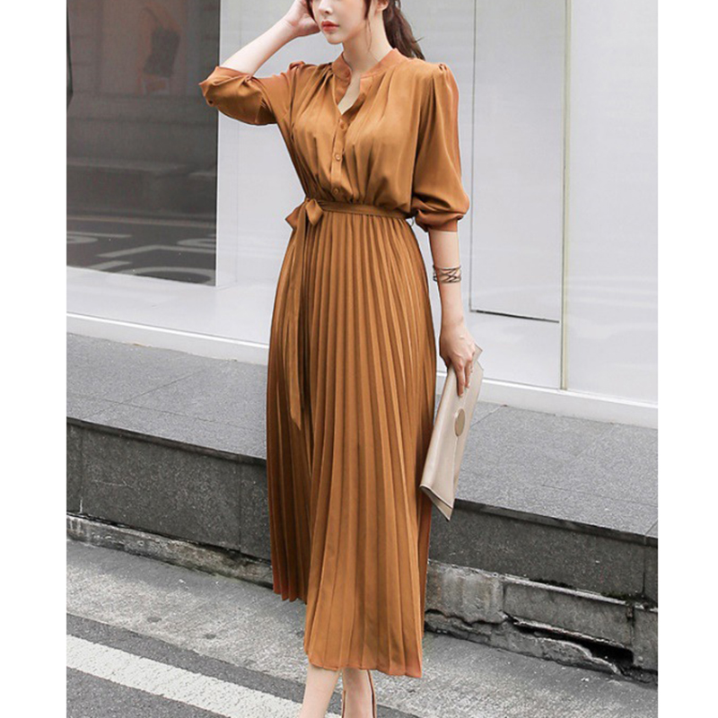 Autumn Pleated <font><b>Sexy</b></font> Bodycon <font><b>Dress</b></font> <font><b>Winter</b></font> Long <font><b>Dress</b></font> Women Vintage Chiffon Long <font><b>Sleeve</b></font> Party <font><b>Dress</b></font> <font><b>Casual</b></font> Vestidos Woman Clothing image