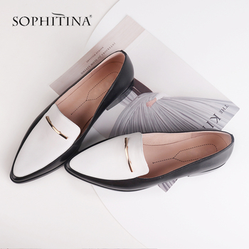 SOPHITINA High Quality Flats Mixed Colors Genuine Leather Casual Pointed Toe Fashion Loafers Shoes Low Heels Casual Shoes C460 genuine leather print leather men flat shoes mocassin homme fashion loafers casual flats pointed toe party shoes plus size 38 46