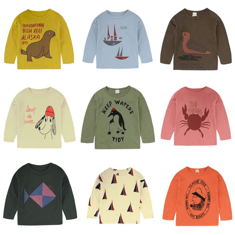 T-shirt à manches longues pour garçons | T-shirt imprimé pour enfants, en coton, de dessin animé, collection printemps-automne