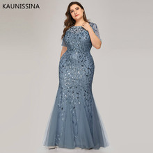 KAUNISSINA Plus Size Sequined Evening Dresses Long O-Neck Half Sleeve Mermaid Elegant Party Gown Banquet Dress Robe De Soiree
