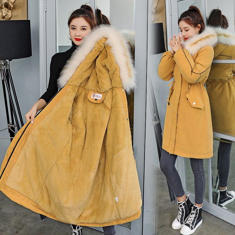 30 градусов новый 2019 Для женщин зимняя куртка с капюшоном и меховой воротник Женская зимняя обувь Пальто Длинные парки с Меховая подкладка плюс Размеры, детская парка с мехом
