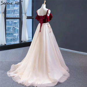 Image 4 - Wine Red Champagne Sleeveless Sexy Evening Dresses Handmade Flowers A Line Evening Gowns 2020 Serene Hill HM66998