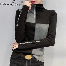Minimalist T-Shirt Top-Tees Bottoming Patchwork Long-Sleeve Slim Triko Korean Women Casual