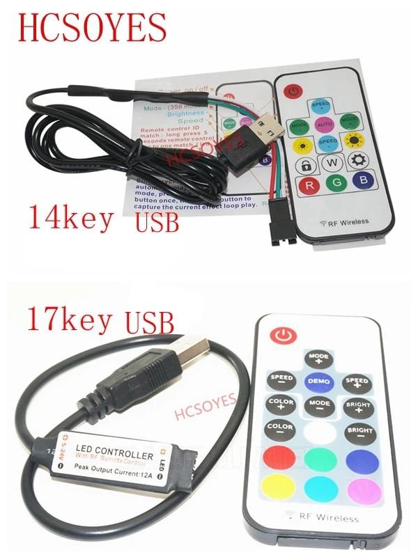 DC5V 17Key RF Wireless LED Controller USB Powered for RGB LED Strip Light Tape