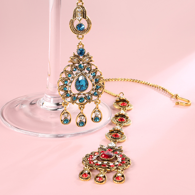 From India Vintage Look Jewelry Sets Pendants Necklace Earring For Women Gold-Color Mosaic  Blue Crystal Party Gifts 2