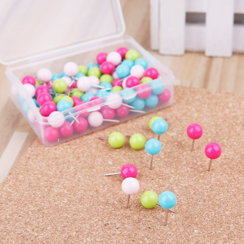 100 Pcs Colorful Assorted Push Pins Drawing Cork Board Nails Photo Wall Office School Supplies