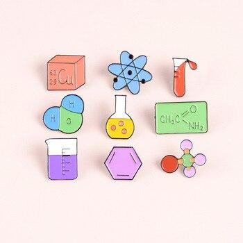 Новая научная лабораторная эмалированная брошь, стеклянная химическая молекулярная структура, Периодическая таблица, значок, измерительн...