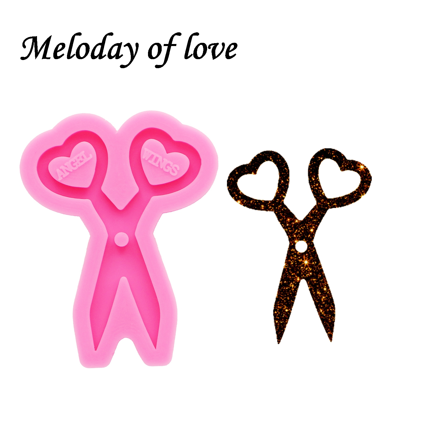 Glossy Mini Scissors Key Silicone Mold Diy Epoxy Resin Molds Jewelry Making Custom Keychain Mould DY0263
