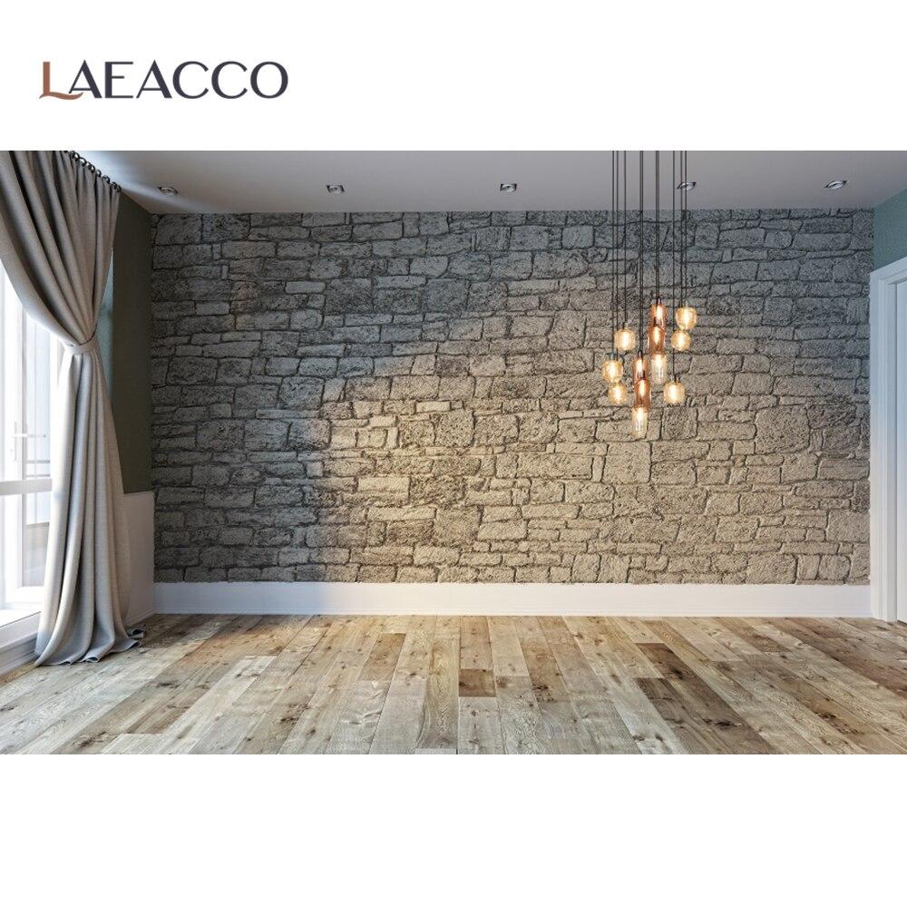 Laeacco современный для гостиной, с изображением каменной кладки кирпичная стена Шторы окна напольный светильник интерьера Фотографии фон для...