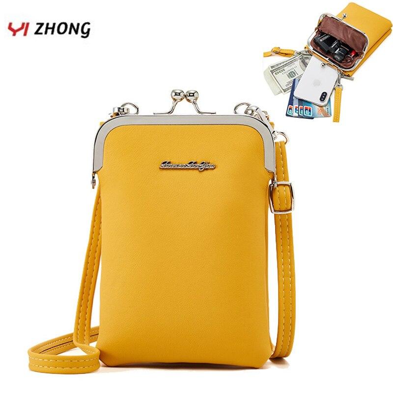 YIZHONG Leather Multifunction Luruxy Shoulder Bag CellPhone Bag For Women Ladies Mini Clutch Purse Female Messenger Bags