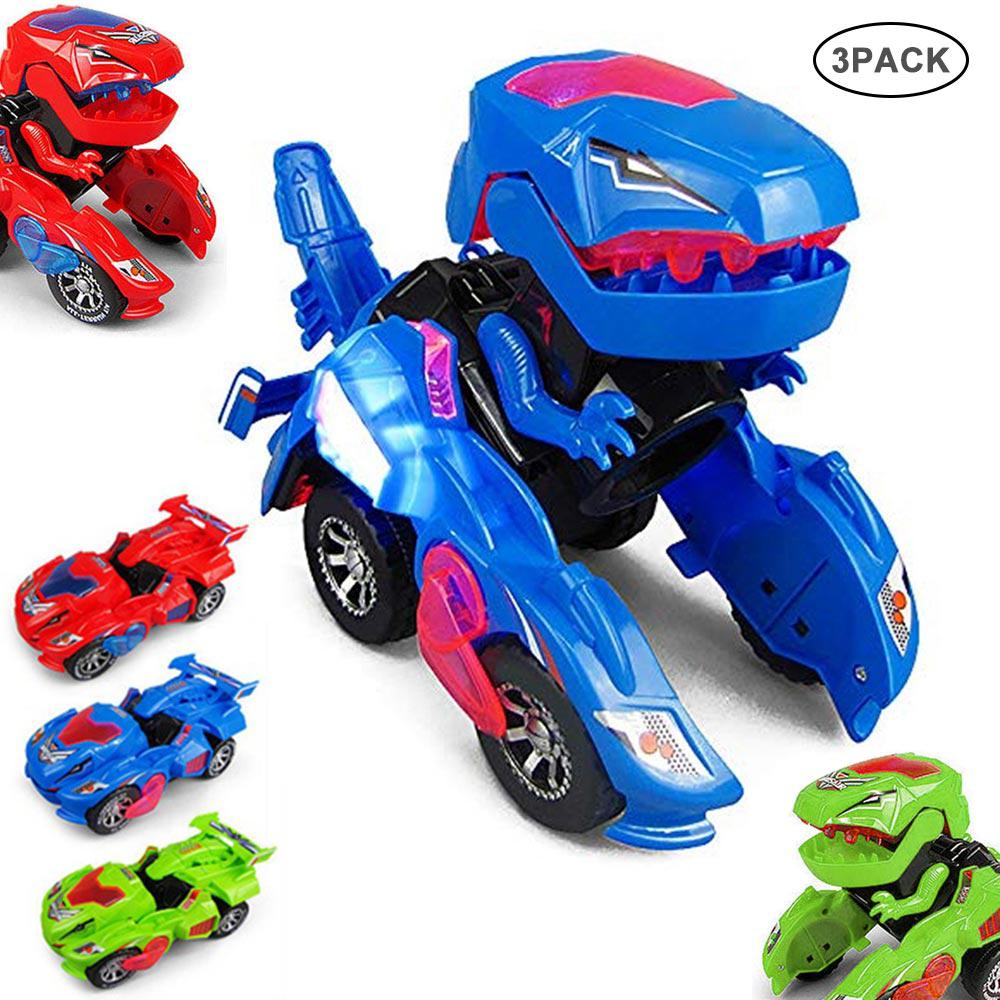 3D Electric Transforming Dinosaur Toy LED Car With Light Sound For Kids Christmas Toy Bithday Gifts