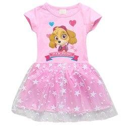 Фиолетовое платье с принтом из мультфильма «Щенячий патруль для девочек детское розовое платье праздничное платье принцессы для малышей, о...