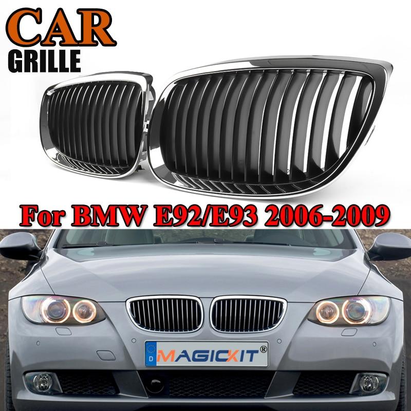 MagicKit Pair Chrome Black Car Front Kidney Grille Grills For BMW E92 E93 3-Series M3 E90/E92/E93 Coupe Convertible 2007 2008