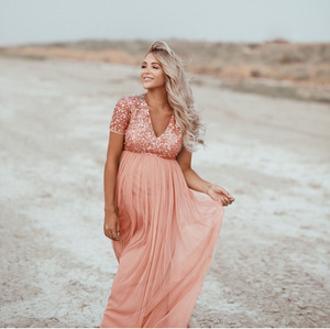 Image 3 - Elegence Maternity Photography Props Pregnancy Dress For Photo Shooting Sequins Tulle Pregnant Women Dresses Maxi Maternity Gown