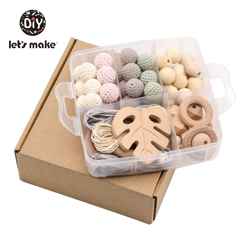 Let's Make Baby Toys DIY Product Crochet Beads Wooden Rings Teether Wood Beads Set Box Trojan Rabbit Leaves Rattles For Newborns