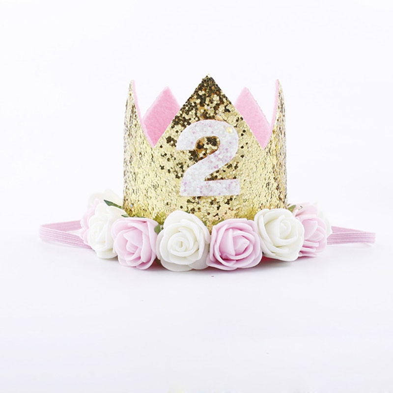 Baby Girl Boy Silver Birthday 1st Hat Princess Crown Cake  Party Birthday Decor