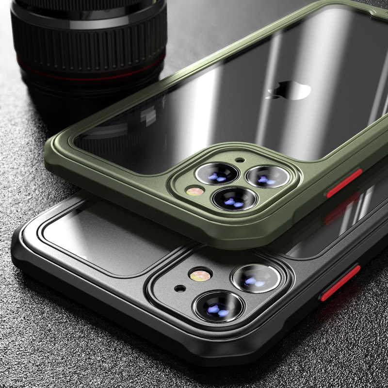 Armor Bumper Anti Shock Silicon Telefoon Case Voor Iphone 11Pro Max Xr Xs Max X 8 7 Plus Se Transparant schokbestendig Airbag Cover