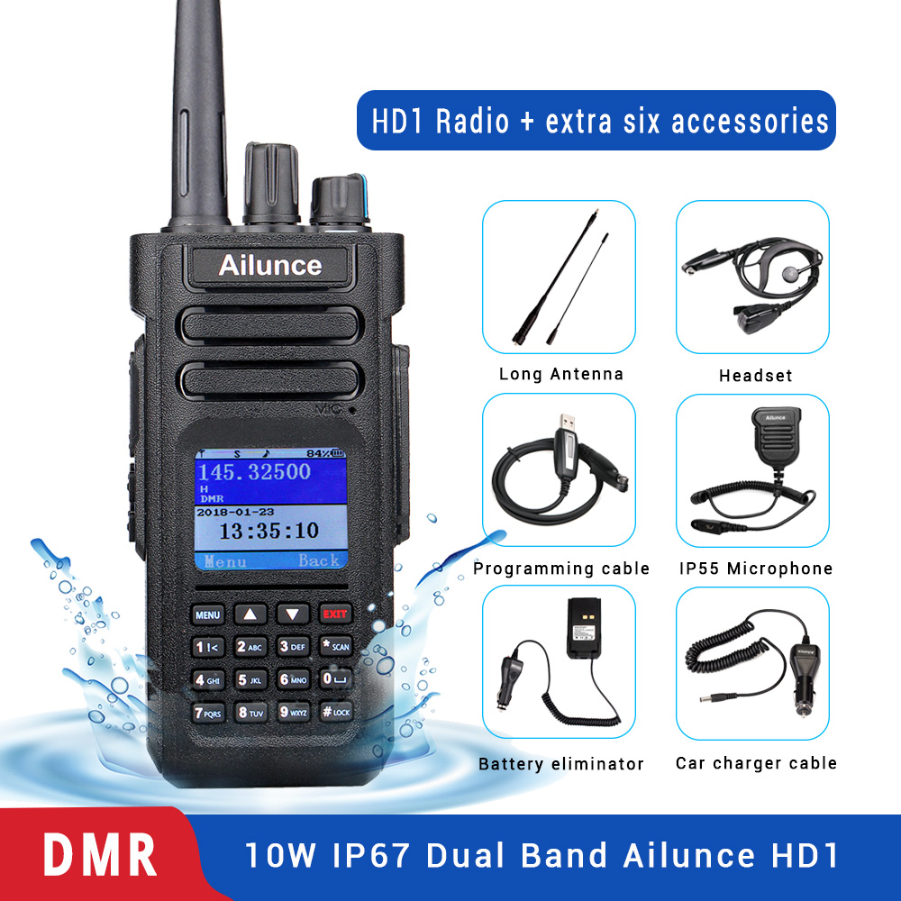 Retevis Ailunce HD1 Dual Band DMR Radio Digital Walkie Talkie (GPS) VHF UHF HF Transceiver Ham Radio Amateur +Accessories