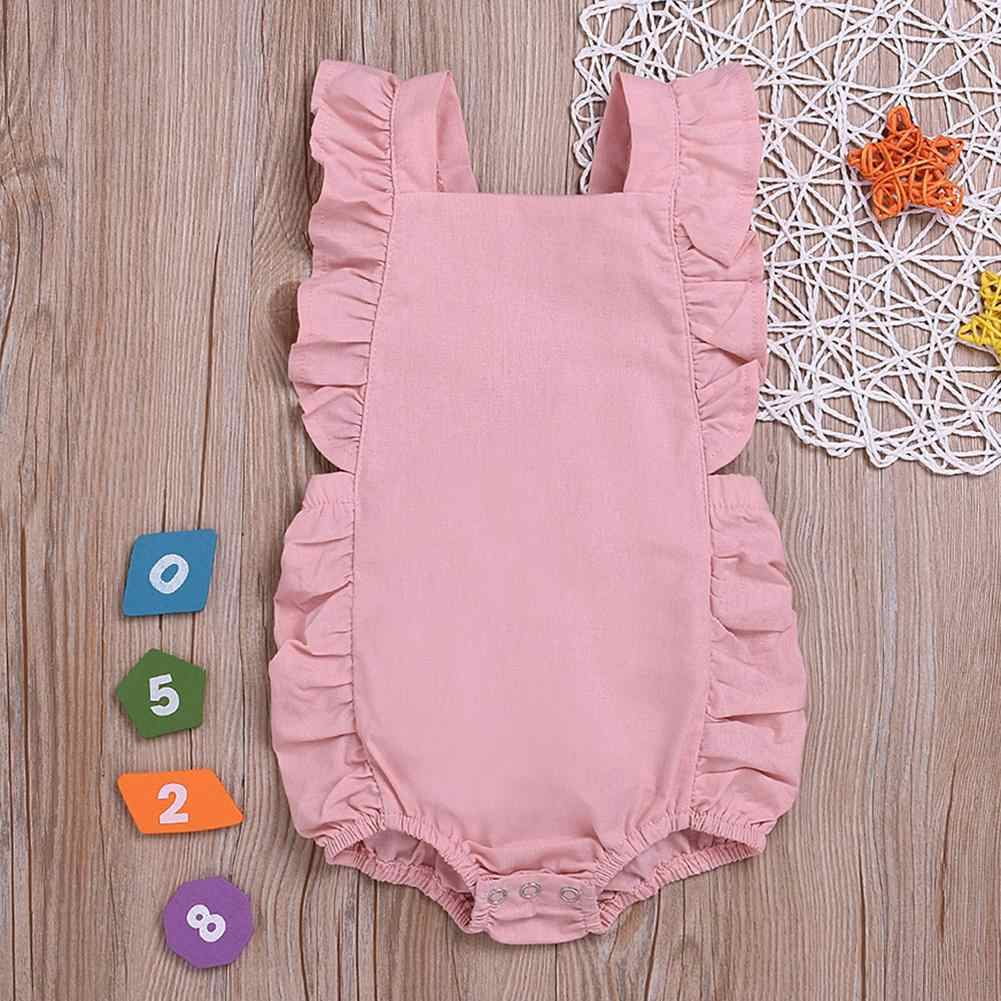Recién Nacido bebé niña volantes Color sólido sin mangas espalda descubierta mono traje a prueba de sol