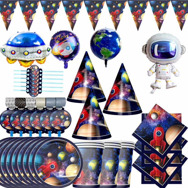 2020 new space party decoration hot sale disposable party plate balloon birthday baby bath party decoration supplies