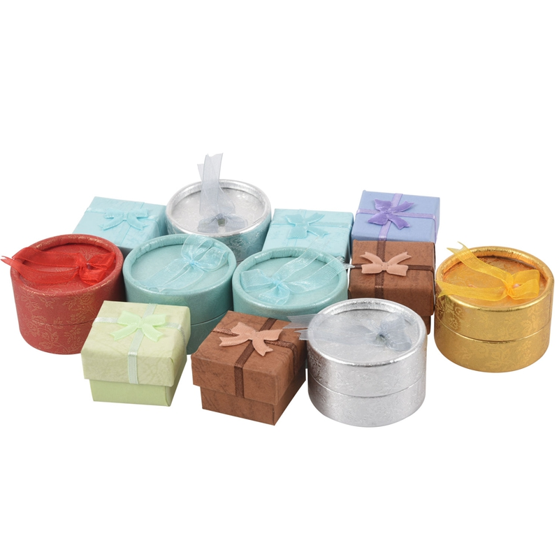 12 PCS Random Color Round And Square Shape Cute Small Gift Box For Ring Earrings Jewelry