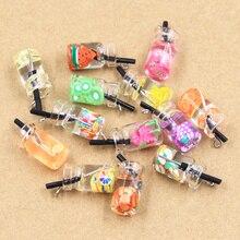 10pcs Charms Fruit Orange Apple Strawberry Lemon Juice Pendant Crafts Making Findings Handmade Jewelry DIY for Earrings Necklace