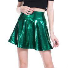 Блестящая короткая мини юбка с металлическим блеском для женщин