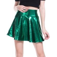 Women Girl Metallic Shiny Short Mini Skirt Party Club PU Dance High Waist Silver 904-A798