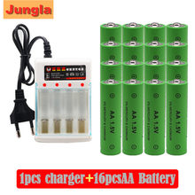 100% New Brand AA rechargeable battery 4000mAh 1.5v AA Alkaline Rechargeable batery + AA charger(China)